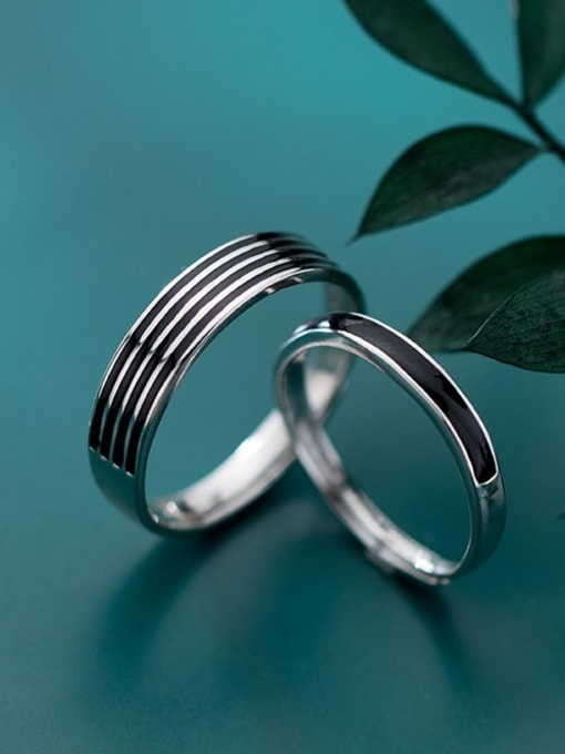 Rosh 925 Sterling Silver Vintage Fashion stripes  Enamel Free Size Ring 3