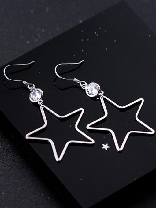 Rosh 925 Sterling Silver  Hollow Star Minimalist Hook Earring 1