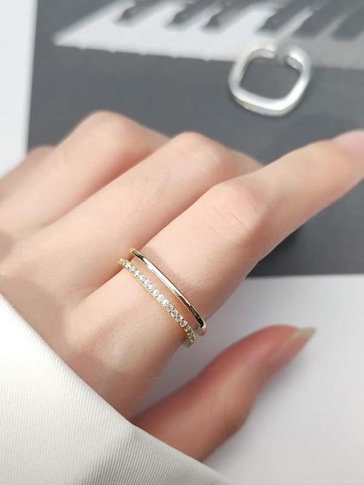 Rosh 925 Sterling Silver Rhinestone  Geometric Minimalist Free Size Band Ring 3
