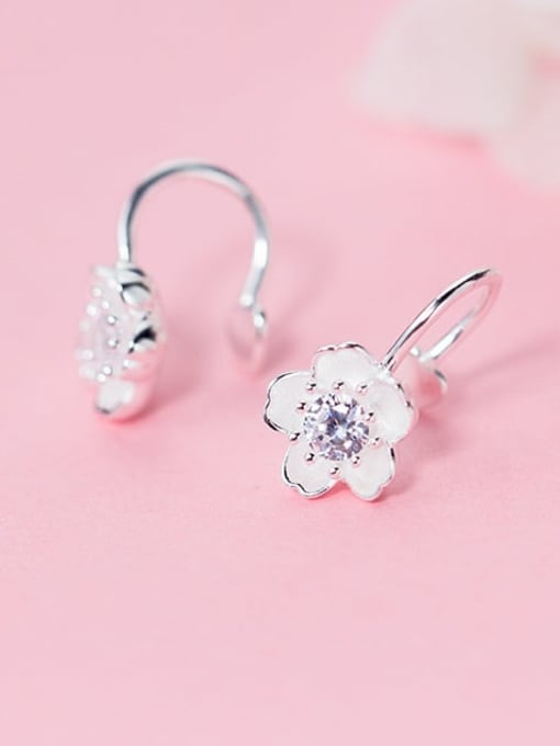 Rosh 925 Sterling Silver Rhinestone White Flower Minimalist Hook Earring 0