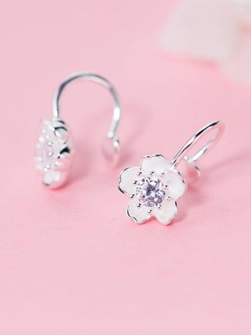 Rosh 925 Sterling Silver Rhinestone White Flower Minimalist Hook Earring
