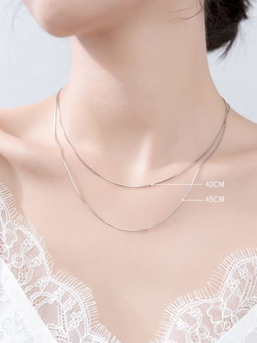 Rosh 925 Sterling Silver Simple snake bone chain 3