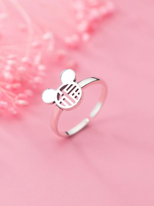 Rosh 925 Sterling Silver Minimalist Hollow Mouse  Free Size Ring 0