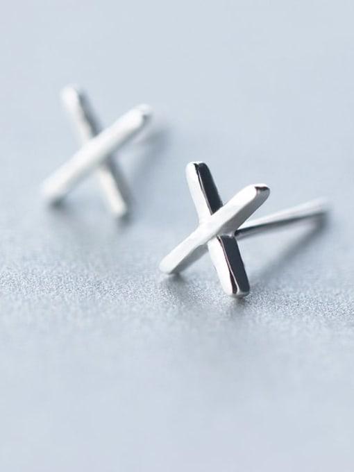 Rosh 925 Sterling Silver Smooth Cross Minimalist Stud Earring 0