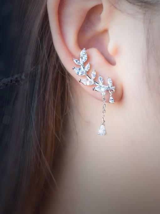 Rosh 925 Sterling Silver Cubic Zirconia Asymmetry Leaf Dainty Drop Earring 1