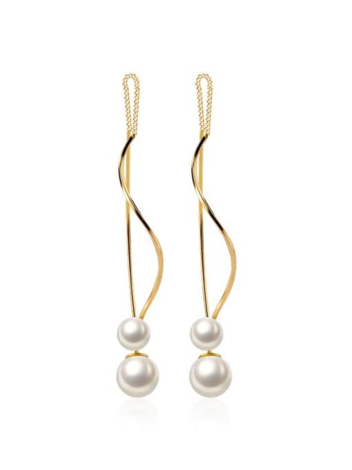 Rosh 925 Sterling Silver Imitation Pearl Tassel Minimalist Threader Earring 0