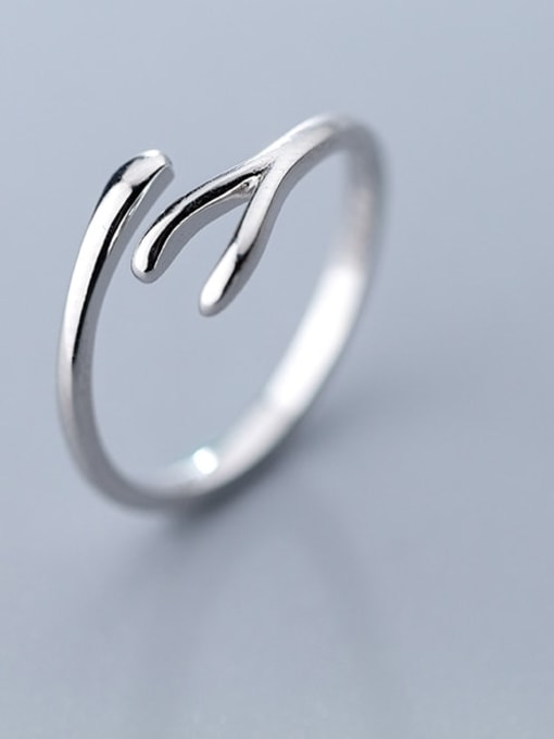 Rosh 925 Sterling Silver Irregular Minimalist Free Size Band Ring 1