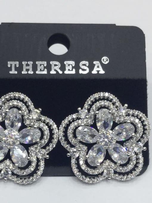 Tabora Copper Cubic Zirconia White Flower Dainty Stud Earring