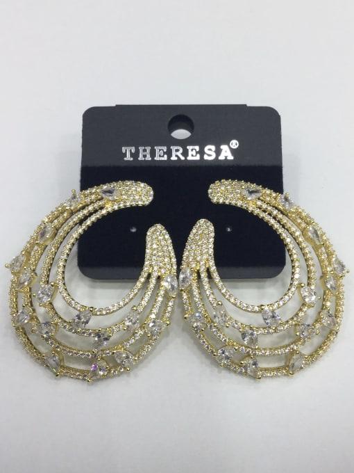 Tabora Copper Cubic Zirconia White Water Drop Luxury Ear Jacket Earring 0