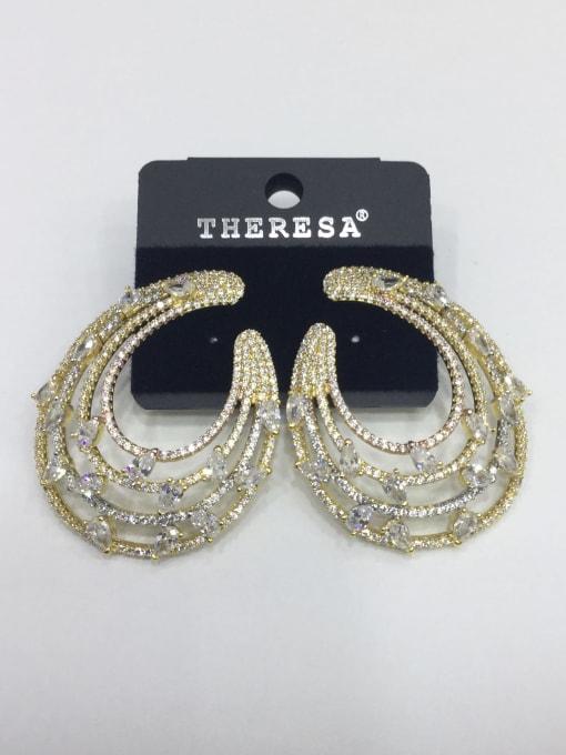 Tabora Copper Cubic Zirconia White Water Drop Luxury Ear Jacket Earring