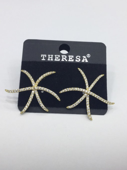 Tabora Copper Rhinestone White Star Minimalist Stud Earring