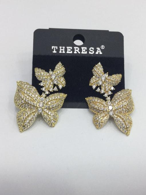Tabora Copper Cubic Zirconia White Butterfly Classic Drop Earring