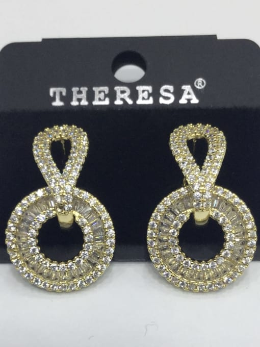 Tabora Copper Cubic Zirconia White Round Minimalist Stud Earring