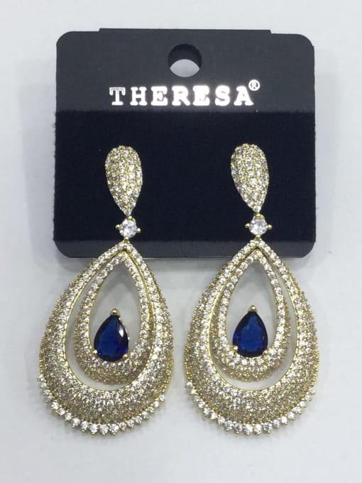 Tabora Copper Cubic Zirconia Blue Water Drop Luxury Drop Earring
