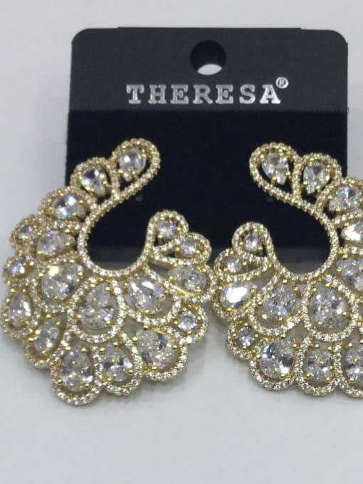 Tabora Copper Cubic Zirconia White Oval Luxury Ear Jacket Earring