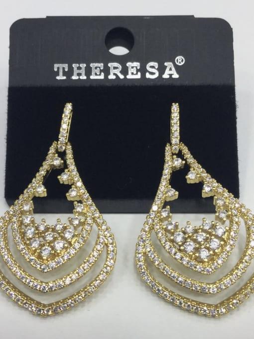 Tabora Copper Cubic Zirconia White Water Drop Minimalist Stud Earring