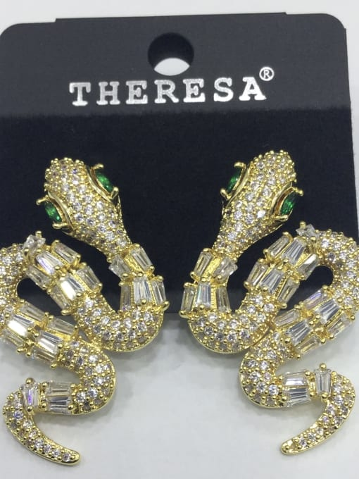 Tabora Copper Cubic Zirconia White Snake Classic Stud Earring