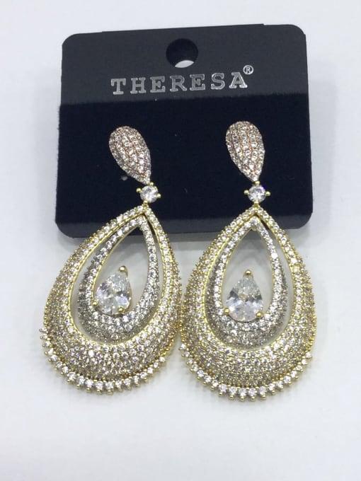 Tabora Copper Cubic Zirconia White Water Drop Luxury Drop Earring