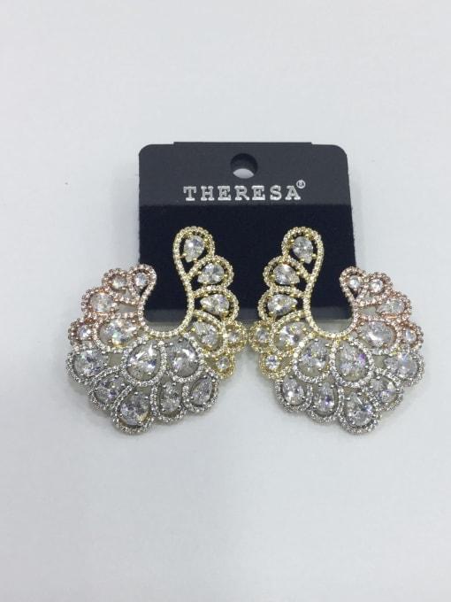 Tabora Copper Cubic Zirconia White Oval Luxury Ear Jacket Earring 0