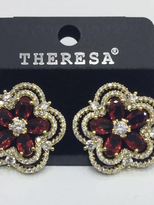 Tabora Copper Cubic Zirconia Red Flower Dainty Stud Earring