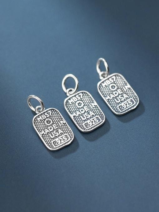 FAN 925 Sterling Silver Letter Geometry Charm Height :15.5 mm , Width: 9.2 mm 2