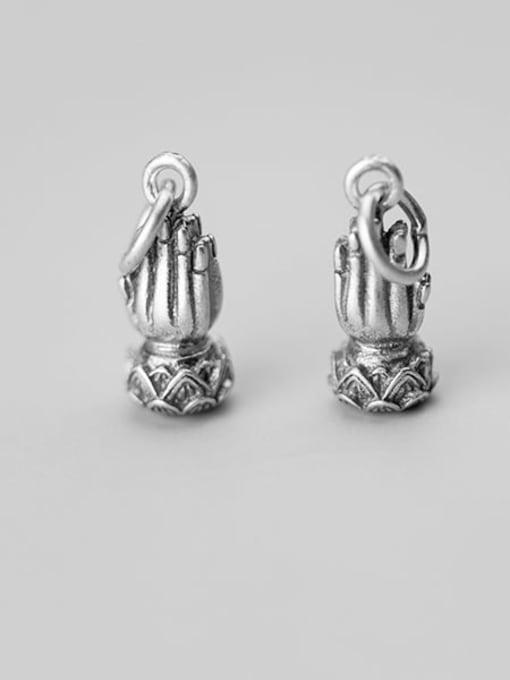 FAN 925 Sterling Silver Hand Charm Height : 16 mm , Width: 16 mm