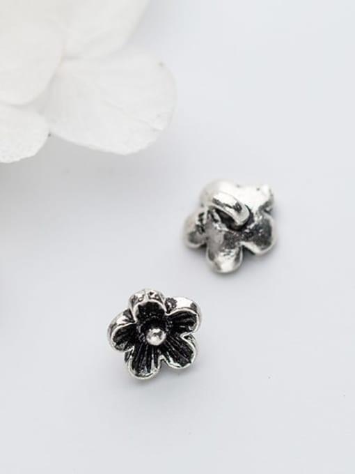 FAN 925 Sterling Silver Flower Charm Height : 9 mm , Width: 9 mm 1