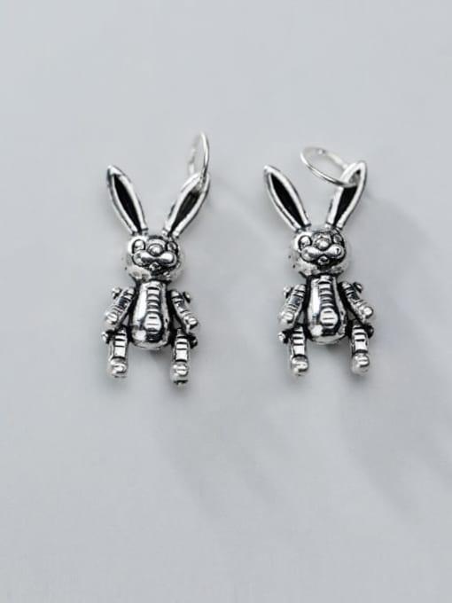 FAN 925 Sterling Silver Rabbit Charm Height : 17 mm , Width: 8 mm