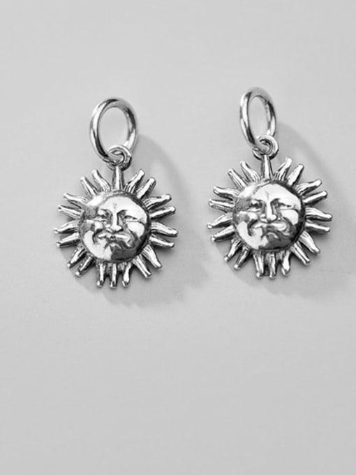 FAN 925 Sterling Silver Face Sunlight Charm  Diameter : 11 mm
