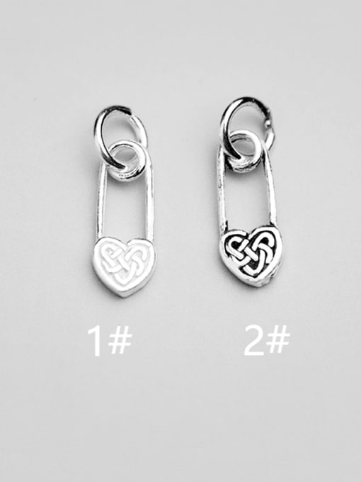 FAN 925 Sterling Silver Heart Charm Height : 14 mm , Width: 6 mm 0