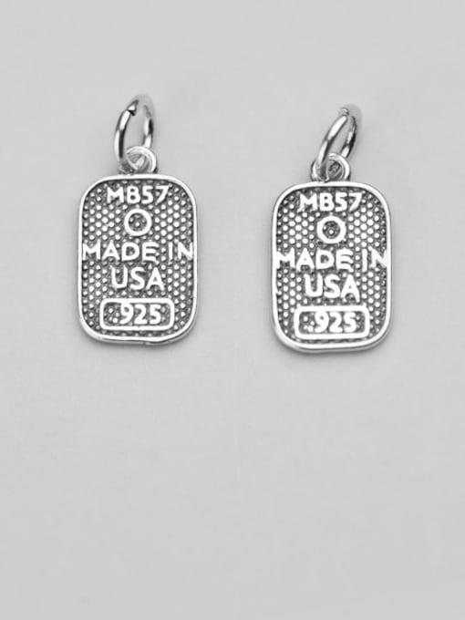 FAN 925 Sterling Silver Letter Geometry Charm Height :15.5 mm , Width: 9.2 mm