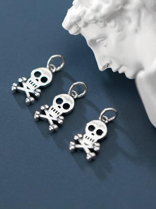 FAN 925 Sterling Silver Skull Charm Height : 15.5 mm , Width: 9 mm 1