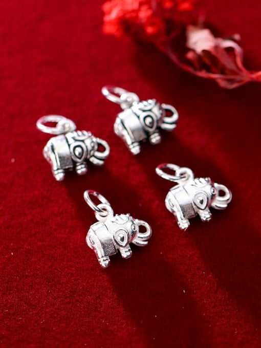FAN 925 Sterling Silver Elephant Charm Height : 11 mm , Width: 12 mm 1