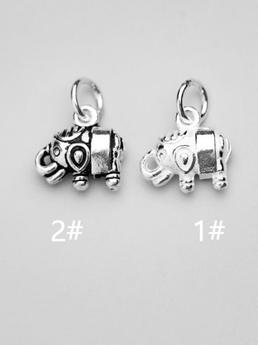 FAN 925 Sterling Silver Elephant Charm Height : 11 mm , Width: 12 mm