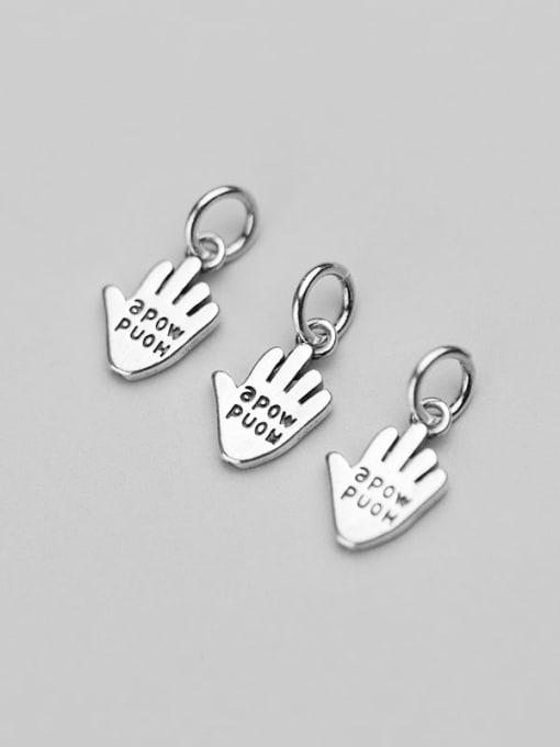 FAN 925 Sterling Silver Hand message Charm 2