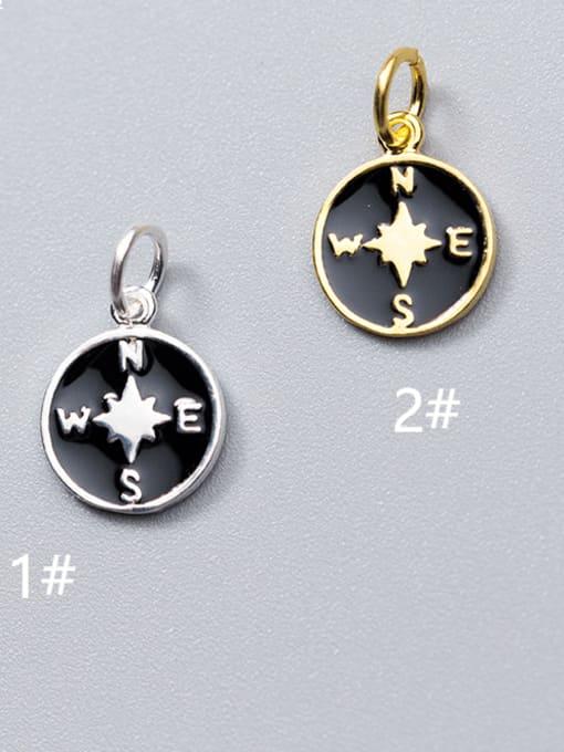FAN 925 Sterling Silver Round Charm Height : 12 mm , Width: 10 mm