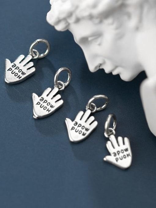 FAN 925 Sterling Silver Hand message Charm 1