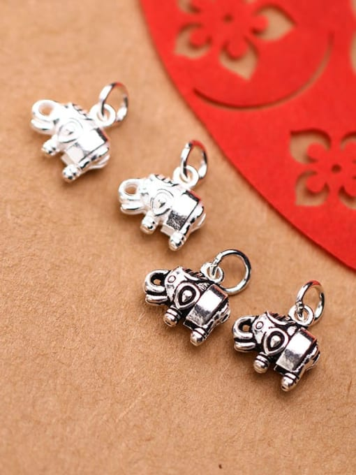 FAN 925 Sterling Silver Elephant Charm Height : 11 mm , Width: 12 mm 2