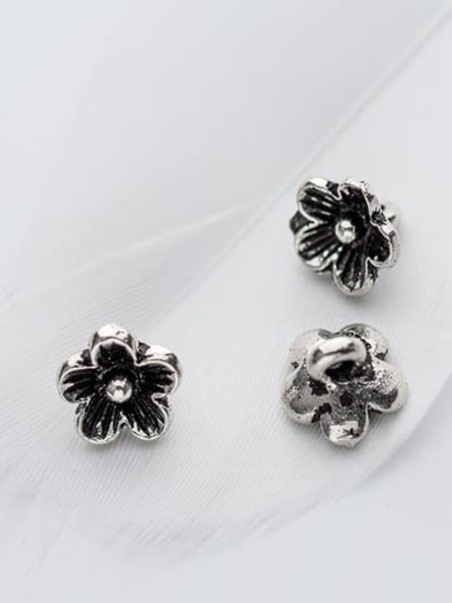 FAN 925 Sterling Silver Flower Charm Height : 9 mm , Width: 9 mm 2