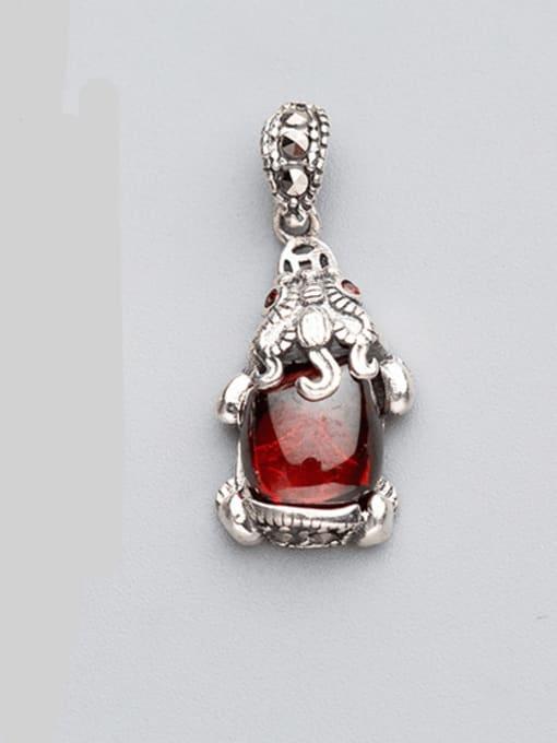 FAN 925 sterling silver ruby Charm