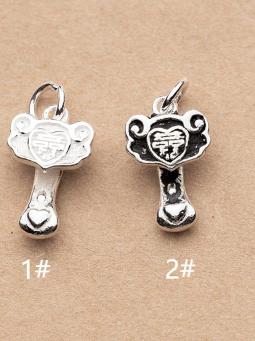 FAN 925 Sterling Silver Key Charm Height : 16 mm , Width: 15 mm