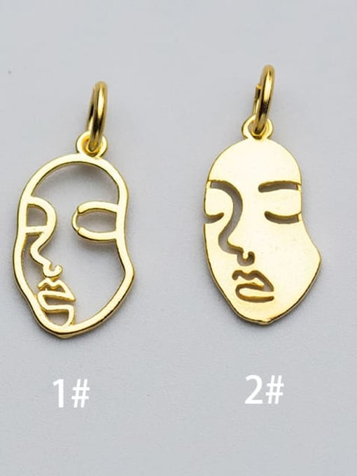 FAN 925 Sterling Silver 18k Gold Plated Face Charm 0