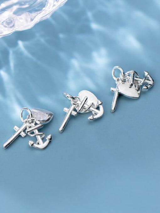 FAN 925 Sterling Silver anchor heart cross Charm Height : 15 mm , Width: 15 mm 1
