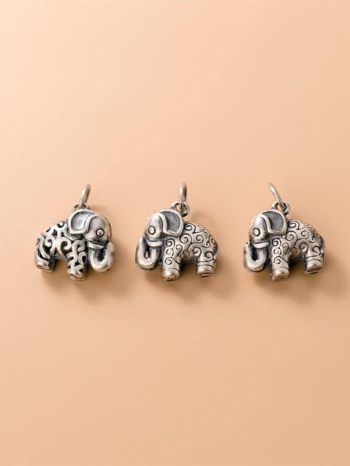 FAN 925 Sterling Silver Elephant Charm Height : 13.5 mm , Width: 14 mm 2