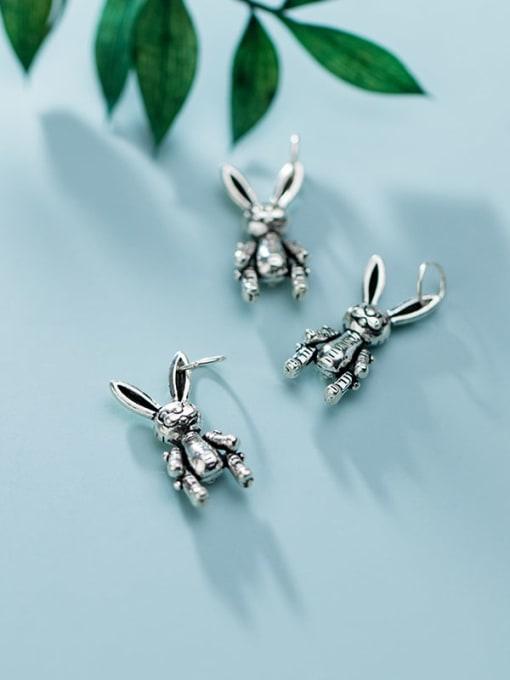 FAN 925 Sterling Silver Rabbit Charm Height : 17 mm , Width: 8 mm 2