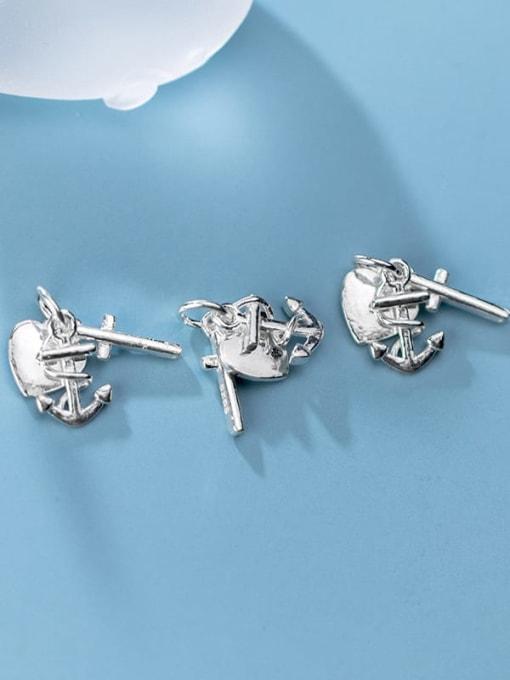 FAN 925 Sterling Silver anchor heart cross Charm Height : 15 mm , Width: 15 mm 2