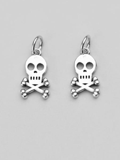 FAN 925 Sterling Silver Skull Charm Height : 15.5 mm , Width: 9 mm