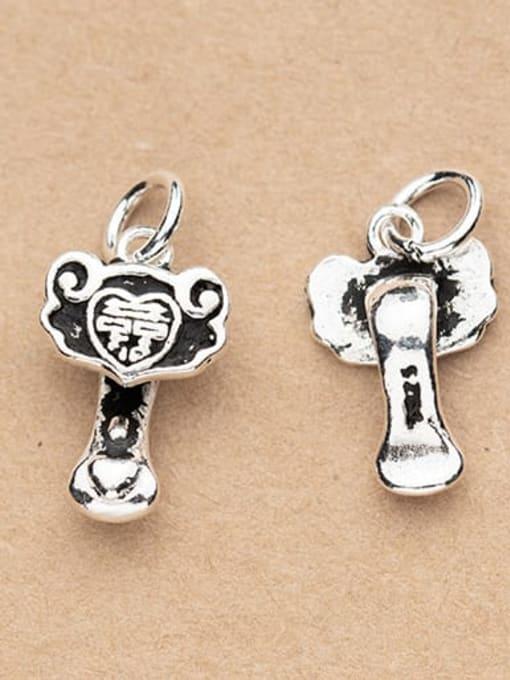 FAN 925 Sterling Silver Key Charm Height : 16 mm , Width: 15 mm 1