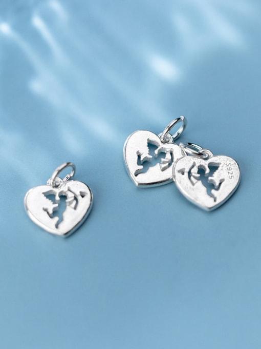 FAN 925 Sterling Silver Anger Heart Charm Height : 13.5 mm , Width: 13 mm 2