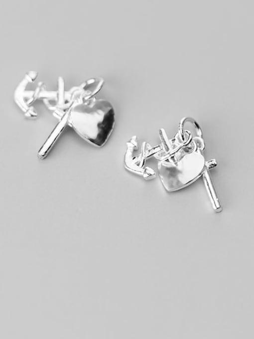 FAN 925 Sterling Silver anchor heart cross Charm Height : 15 mm , Width: 15 mm 0